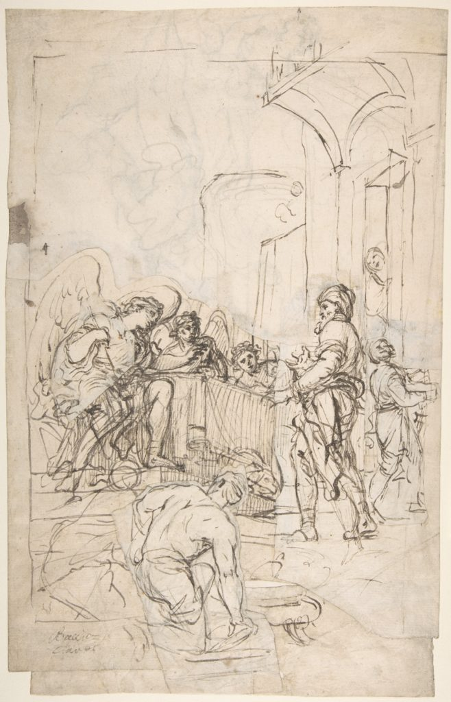 Abraham Entertaining the Three Angels (Genesis 18:1-15) (recto);  A Couple Embracing, and Other (verso)