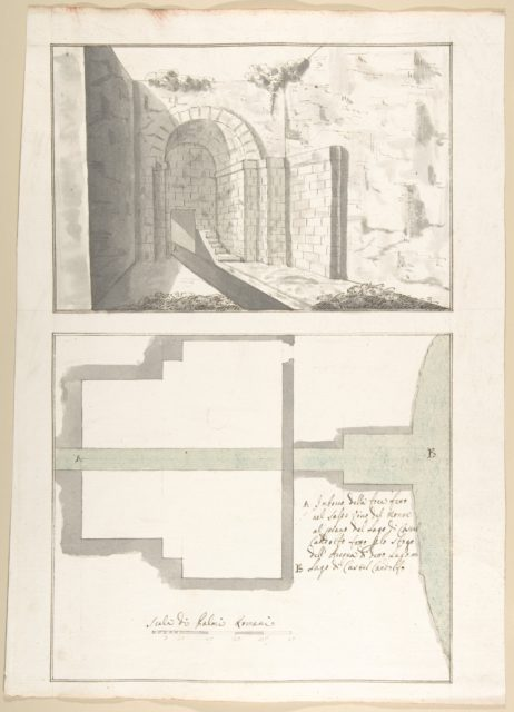 Canalization of the Mouth of the Sasso Vino into the Lake of Castel Gandolfo: Perspective and Plan