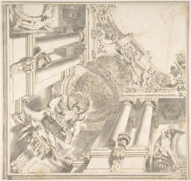 Design for a Quarter of a Trompe L'Oeil Ceiling with Architecture in the Ionic Order and a Statue of Victory