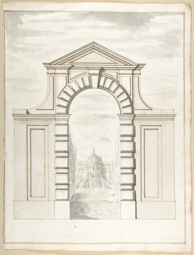 Elevation of a Garden Gate Showing a Palazzo or Villa in the Distance