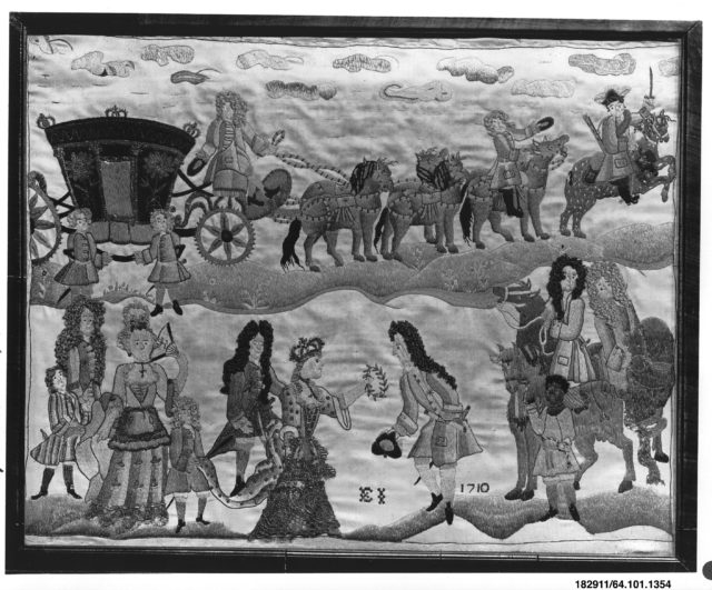 Embroidered picture of Queen Anne and the Duke of Marlborough