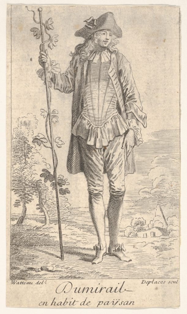 Man in tricorn hat and overcoat, shown in frontal view and holding a staff with a winding vine, landscape with trees beyond