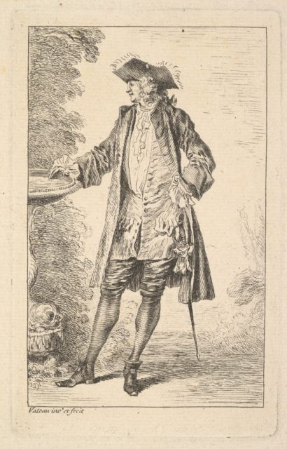 Standing man with his right hand resting on a basin, shown in three-quarters view with his head turned toward the left, from the series 'Figures of fashion' (Figures de modes)