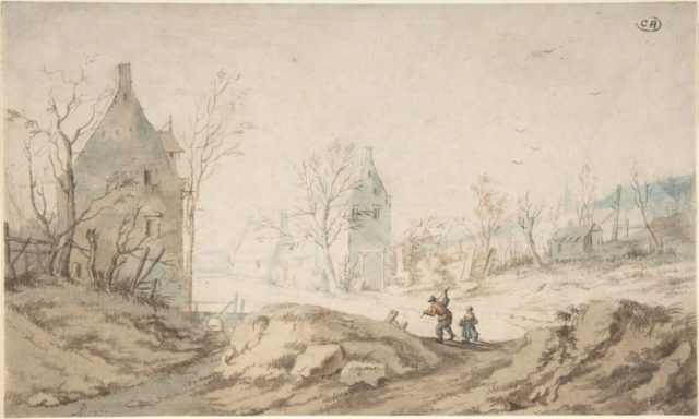 Winter Landscape with Two Peasants Walking