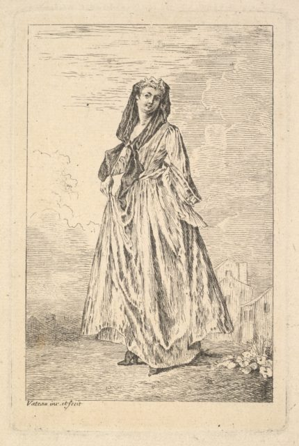 Woman walking and holding her skirt with her right hand, shown in three-quarters view with head turned toward the viewer, from the series 'Figures of fashion' (Figures de modes)