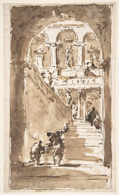 Architectural Fantasy: Figures on a Grand Staircase