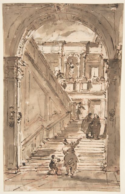 Architectural Fantasy: Figures on a Grand Staircase (recto); Studies for the Frame of a Shaped Field (verso)