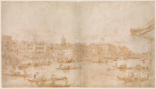 The Grand Canal above the Rialto (recto); A Priest Celebrating Mass and Saint Vincent Ferrer Preaching (verso)
