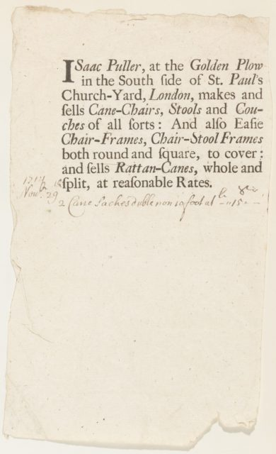 Trade Card of Isaac Puller, Furniture Maker