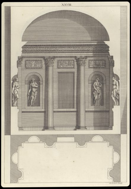Design for a Corinthian Hall, in The Architecture of A. Palladio in Four Books containing a Short Treatise on the Five Orders (L'Architecture de A. Palladio en quatre livres... / Il quattro libri dell'architettura) (Volume 1, book 2, plate 28)
