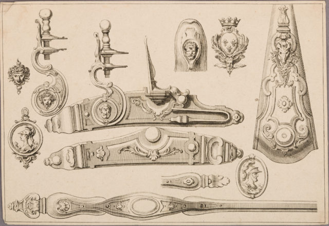 Design of a Flintlock, Side Plate, Butt Plate, and Trigger Guard, unnumbered plate from Nouveaux Desseins d'Arquebuserie Inventez et Gravez par Le Sr. Gillot