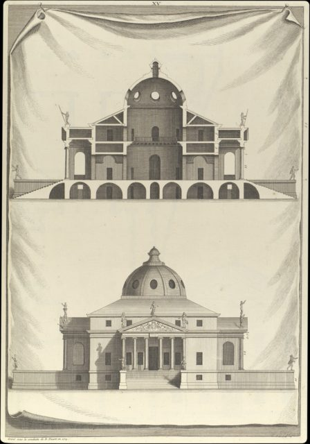 Villa Rotunda, in The Architecture of A. Palladio in Four Books containing a Short Treatise on the Five Orders (L'Architecture de A. Palladio en quatre livres... / Il quattro libri dell'architettura) (Volume 1, book 2, plate 15)