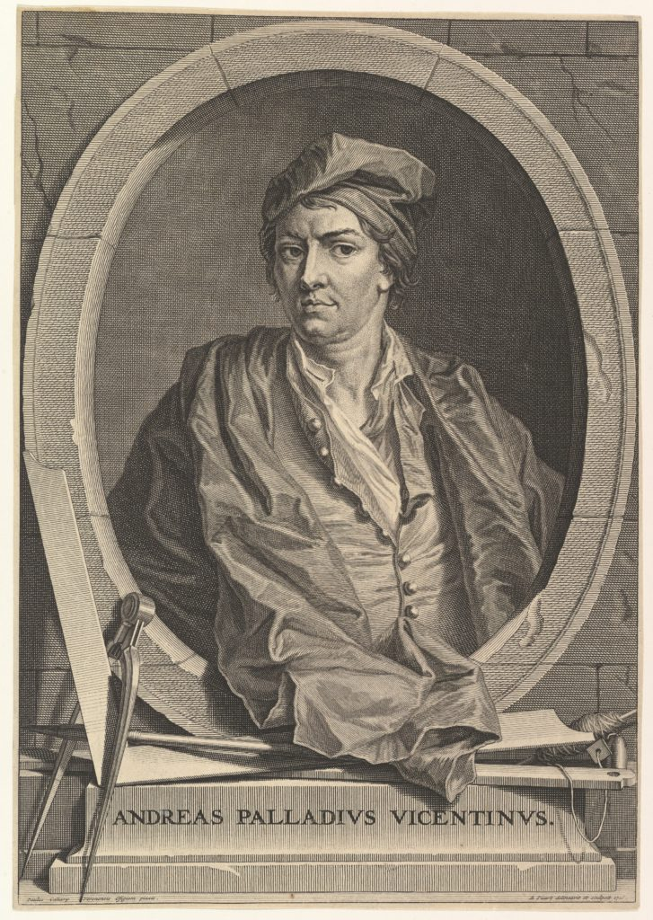 Portrait of Andrea Palladio in half-length within an oval frame; a compass, carpenter's square, and plumb line rest on the plinth below the oval, from an unidentified edition of 'Architecture de Palladio,' revised by Giacomo Leoni and translated by Nicholas du Bois