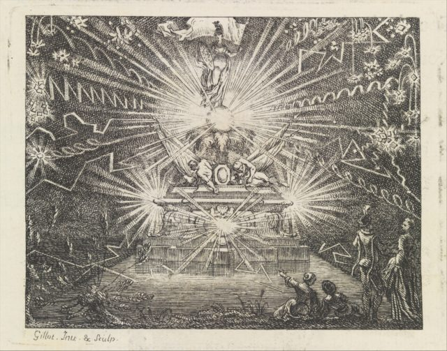 Plate for The Fish and the Fireworks, Fable Sixteen, in Fables Nouvelles, Dediées au Roy