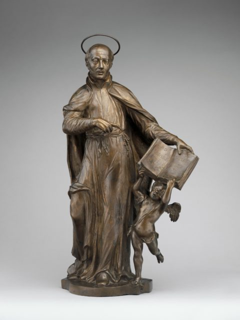Saint Ignatius Loyola with an Angel Holding a Book Inscribed with the Motto of the Society of Jesus