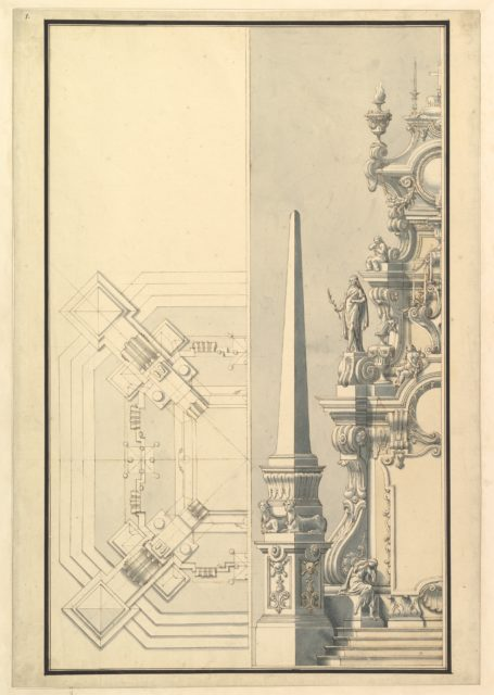Half elevation and half ground plan for a catafalque for Margherite Louise d'Orleans, Granduchess of Tuscany (1645-1721)