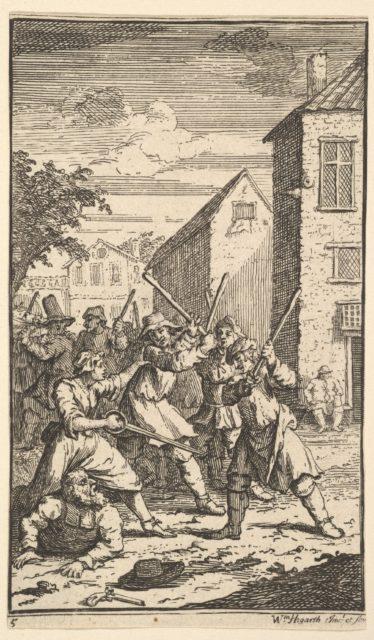 Hudibras Vanquished by Trulla (Seventeen Small Illustrations for Samuel Butler's Hudibras, no. 5)