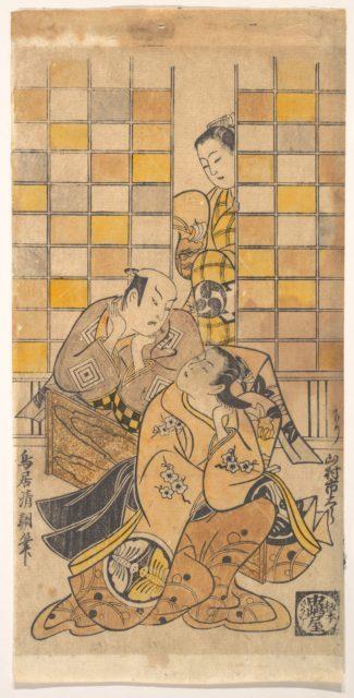 Ichikawa Danjuro II as Kanto Koroku and Yamamura Ichitaro as Oichi