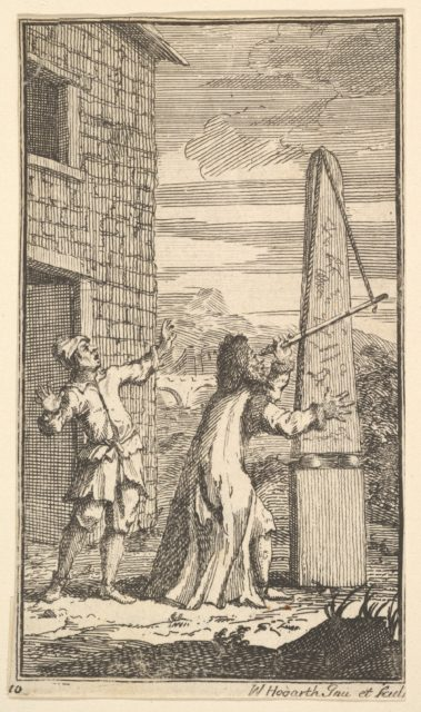 Sidrophel Examining the Kite Through His Telescope (Seventeen Small Illustrations for Samuel Butler's Hudibras, no. 10)