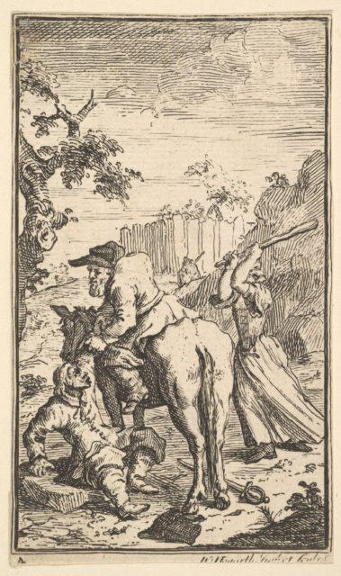 Trulla Attacking Hudibras (Seventeen Small Illustrations for Samuel Butler's Hudibras, no. 4)