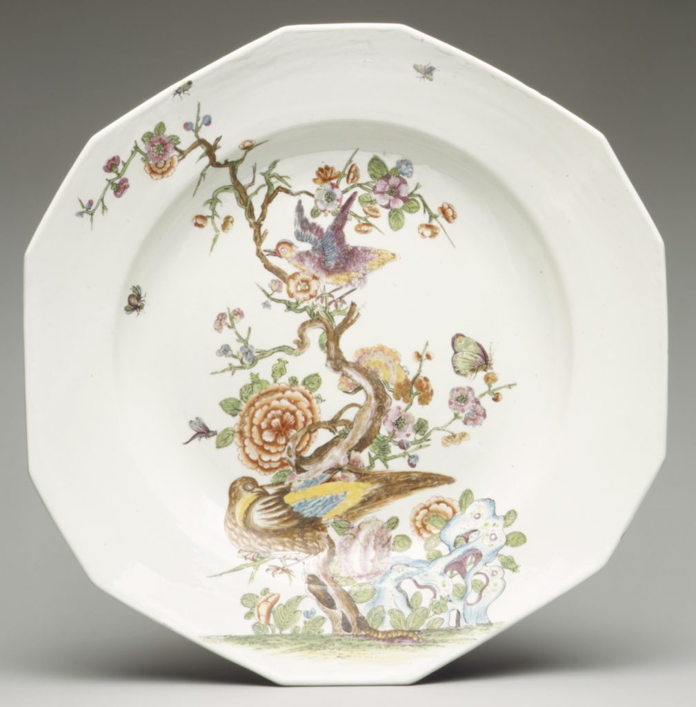 Dish with tree, flowers, and birds
