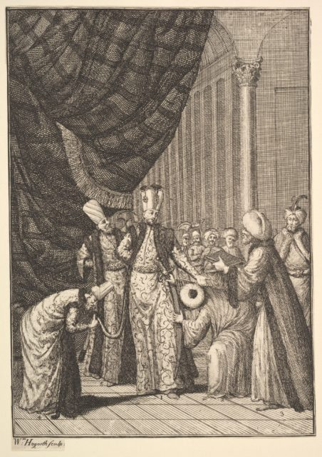 "Sultan Ahmed III Crowned in the Mosque at Eyups (Aubry de La Mottraye's ""Travels throughout Europe, Asia and into Part of Africa...,""  London, 1724, vol. I, pl. 17B)"