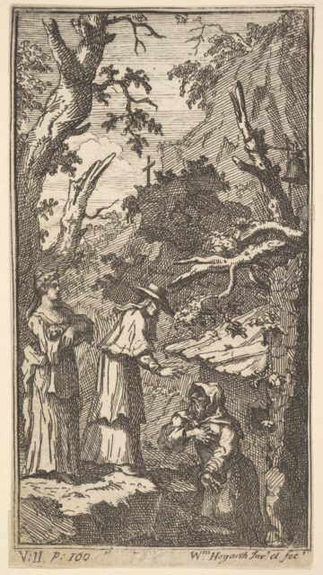 The New Metamorphosis, Plate 7: The Cardinal, a Hermit and Donna Angela Holding Fantasio