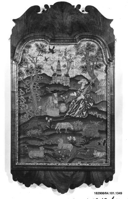 Embroidered picture of pastoral scene