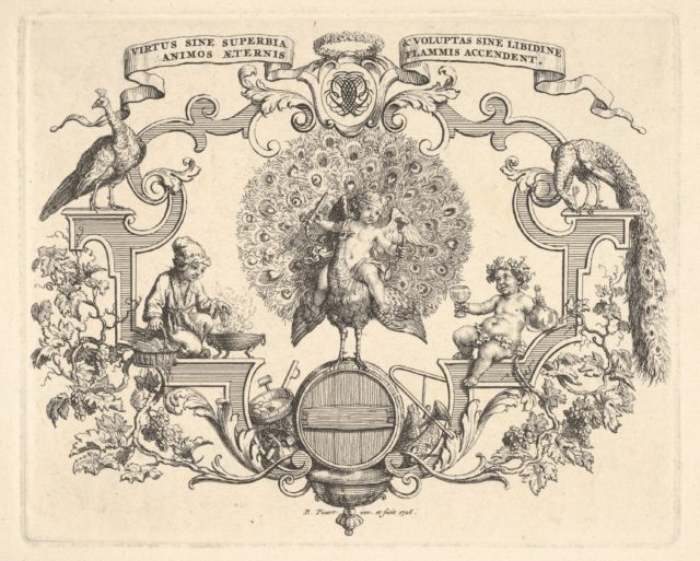 Epithalamium, at center a winged putto seated on a peacock standing on a barrel, at left a figure in fur-lined hat and outercoat holds a piece of wood over a brazier, at right a figure dressed in an ivy crown holds a goblet in one hand and a bottle in the other, surrounded by scrollwork and grapevines