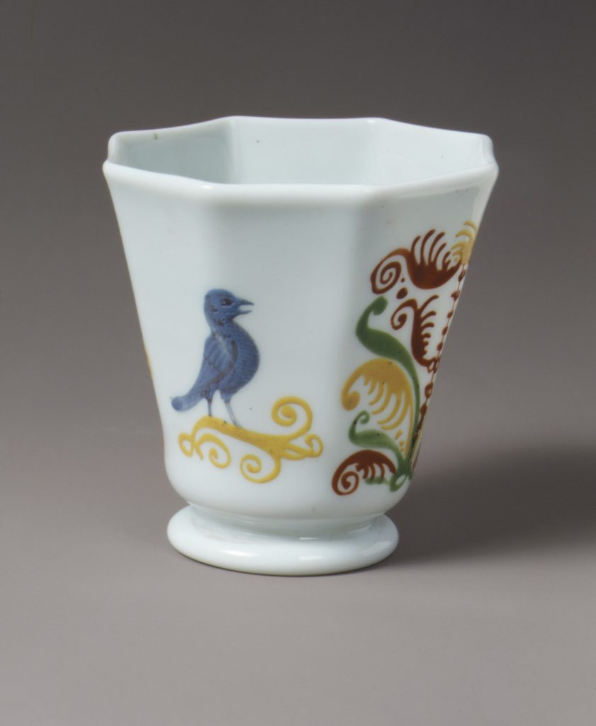 Octagonal beaker decorated with bird and trees