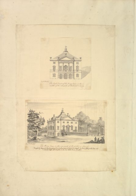 Leaf from Aedes Walpolinae mounted with (a): Elevation of Back Facade of the Kings House, Richmond, Surrey and (b): Perspective View of the Entrance Front of the Kings House, Richmond, Surrey