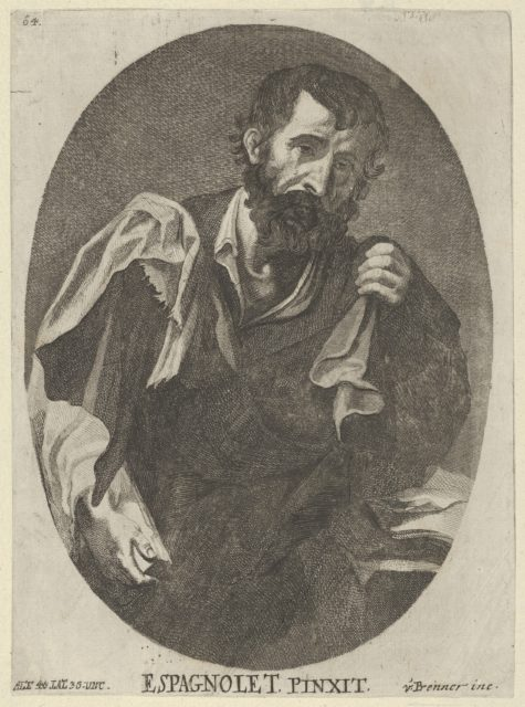 A man, possibly a scholar or philosopher,  from a portfolio of reproductions of the Imperial Gallery of Paintings in Vienna; plate 64 of the series