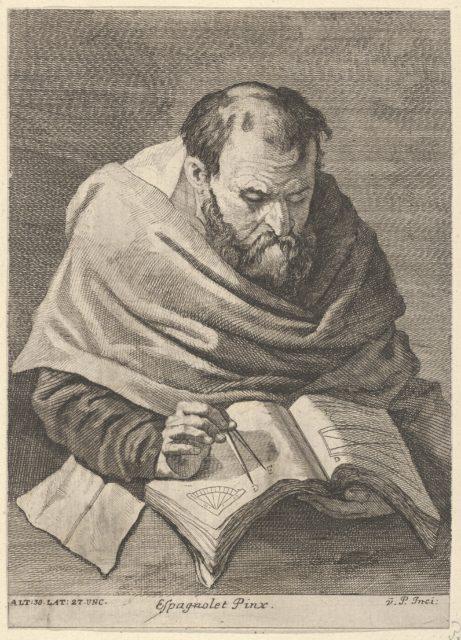A mathematician seated at a table, working on mathematical equations, from a portfolio of prints of the Imperial Gallery of Paintings in Vienna; plate 34 of the series