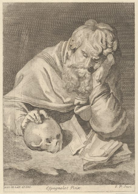 A saint seated at a table with his right hand resting on a skull, from a portfolio of reproductions of the Imperial Gallery of Paintings in Vienna; plate 33 of the series