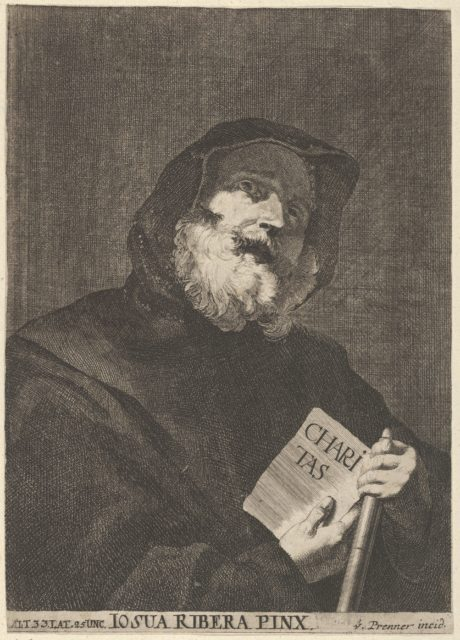 """Saint dressed in a hooded cloak, holding  book with the inscription """"CHARITAS""""  from a portfolio of reproductions of the Imperial Gallery of Paintings in Vienna; plate 41 of the series"""