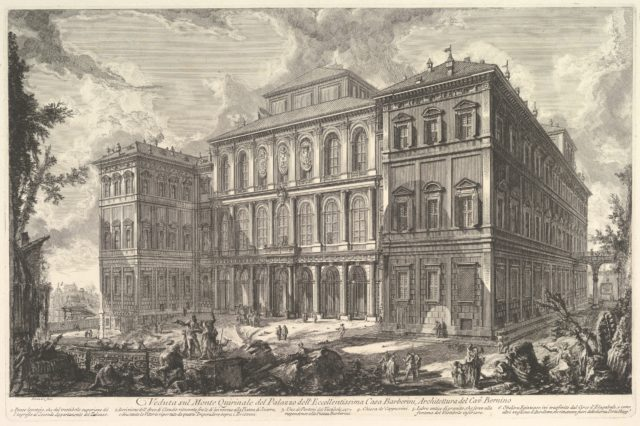 View of the palace of the illustrious Barberini family on the Quirinal Hill, designed by Cavaliere Bernini, from Vedute di Roma (Roman Views)