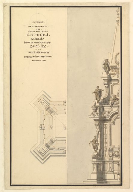 Half Elevation and Half Ground Plan for Catafalque for Antonio Farnese, Duke of Parma (d. 1731)