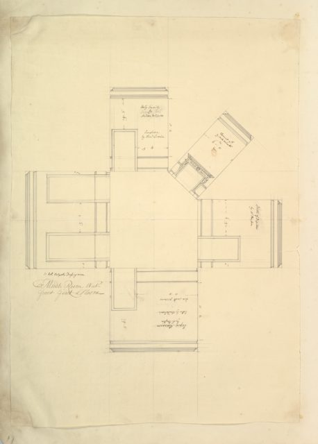 Treasury House, 10 Downing Street, London: Plan of Sir Robert Walpole's Dressing Room (Middle Room, West Front, First Floor)