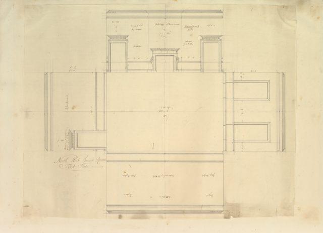Treasury House, 10 Downing Street, London: Plan of the End Room Below (Northwest Corner Room, First Floor)