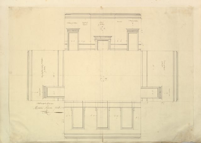 Treasury House, 10 Downing Street, London: Plan of the Great Middle Room (Sir Robert Walpole's Levee Room, Northwest Corner, First Floor)