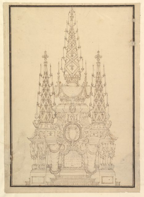 Elevation of a Catafalque, Three Obelisks with Fluer-de-lys and Candles, Dated on Plaque at Bottom 1733.