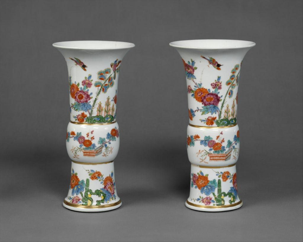Vase with flowers and birds (one of a pair)
