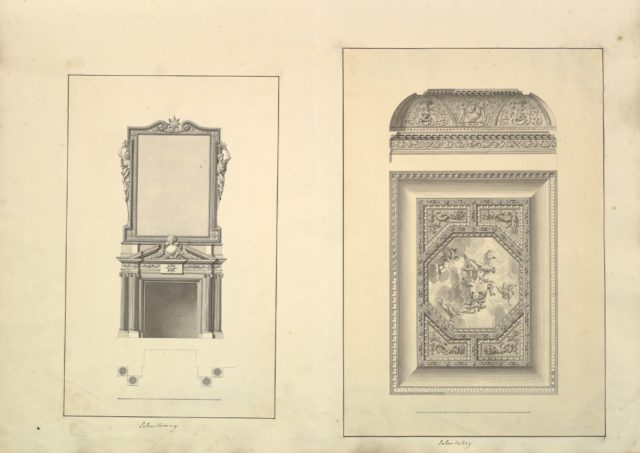 Leaf from Aedes Walpolianae mounted with two drawings: (a): Salon Chimney, Houghton Hall, Norfolk, Elevation; (b): Salon Ceiling, Houghton Hall, Norfolk
