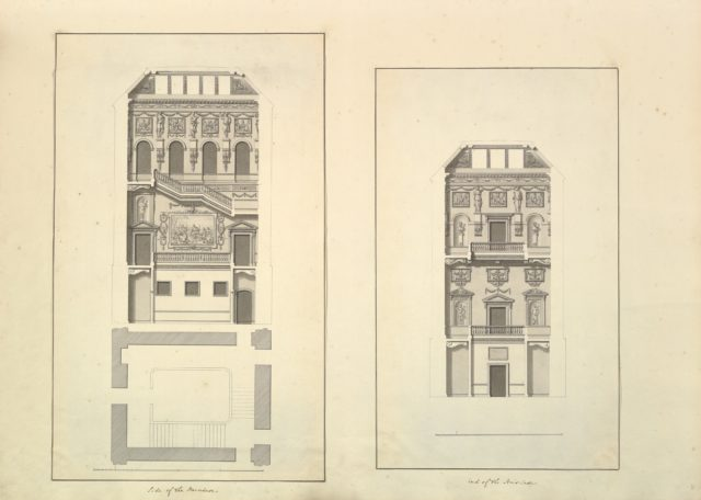 Leaf from Aedes Walpolianae mounted with two drawings (a): Side of the Staircase, Houghton Hall, Norfolk, Elevation; (b): End of Staircase, Houghton Hall, Norfolk