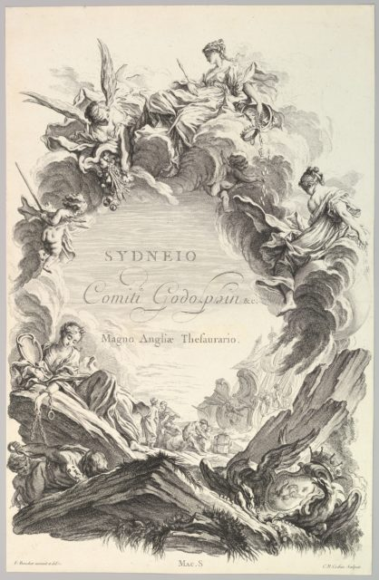 """Frontispice pour le """"Tombeau du comte Sidney Godolphin"""" (Frontispiece for the """"Tomb of Earl Sidney Godolphin""""), from Tombeaux des Princes, des Grands Capitaines et autres Hommes illustres (Tombs of Princes, Great Captains, and other Illustrious Men)"""