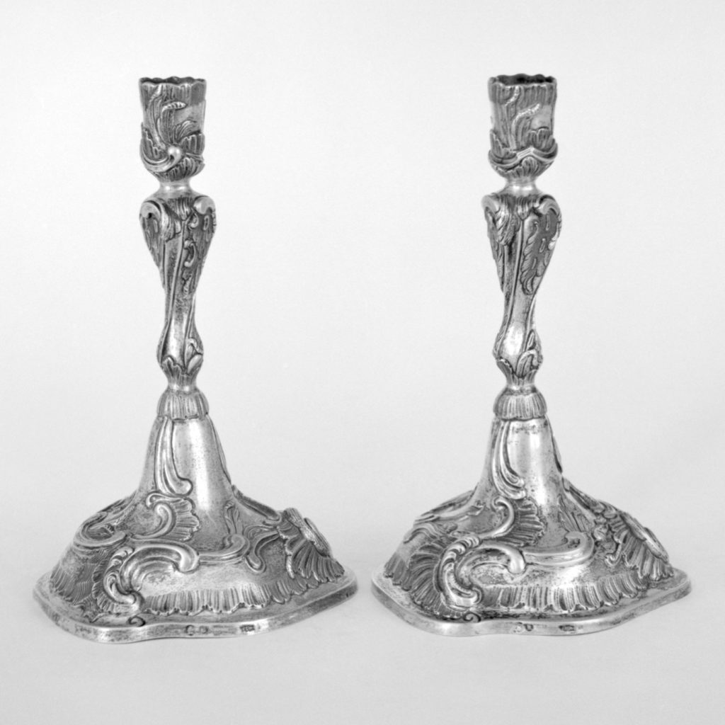 Cast candlestick (one of a pair)
