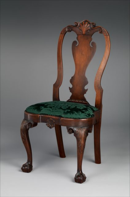Queen Anne Carved Cherrywood Side Chair