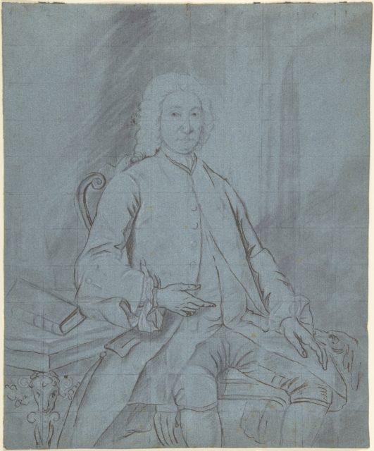 Three-Quarters-Length Portrait Study of a Man Seated at a Desk with a Dog