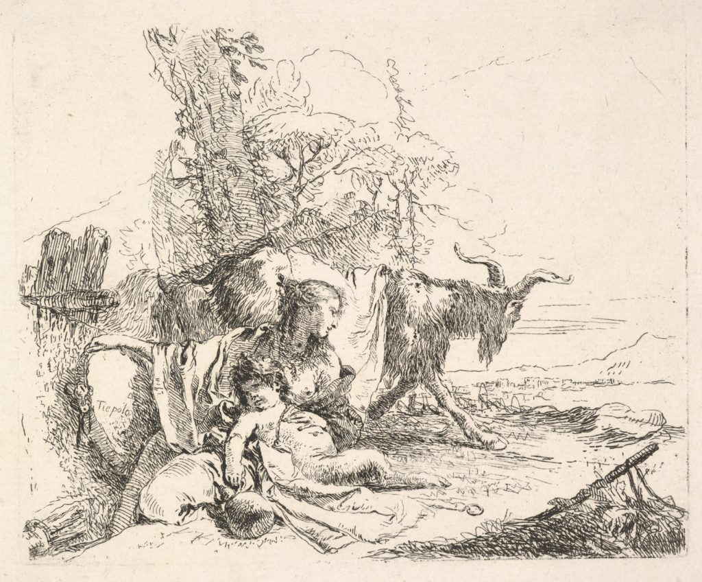 Woman and infant satyr in a landscape, the woman twisting to look over her left shoulder, a horned goat striding toward the background, from the series 'The Capricci'