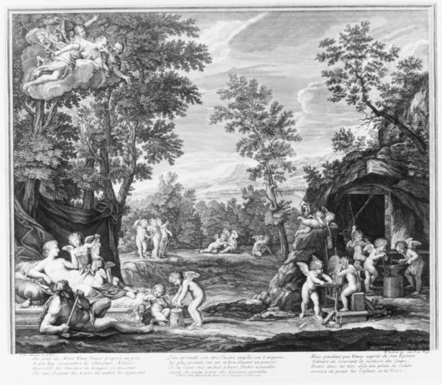Leaf from Aedes Walpolianae mounted with two prints: (a): The Loves of Venus and Adonis; (b): The Loves of Venus and Adonis